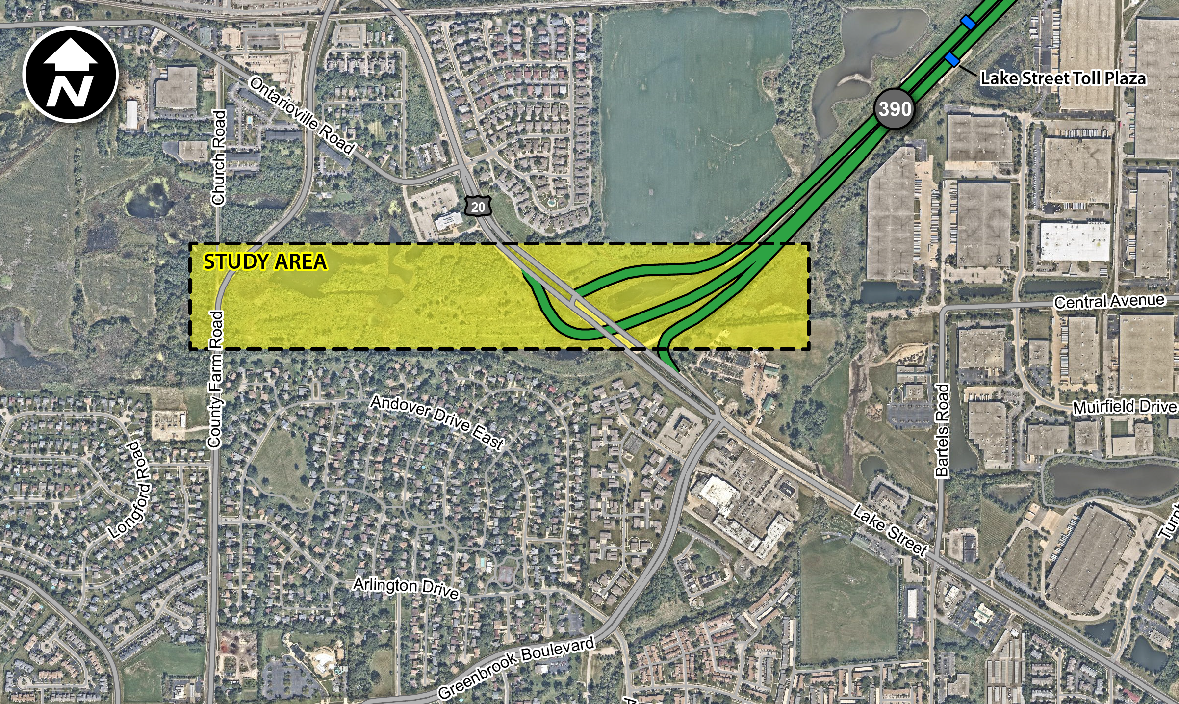 An overhead map detailing the study area for the Route 20 interchange study Opens in new window